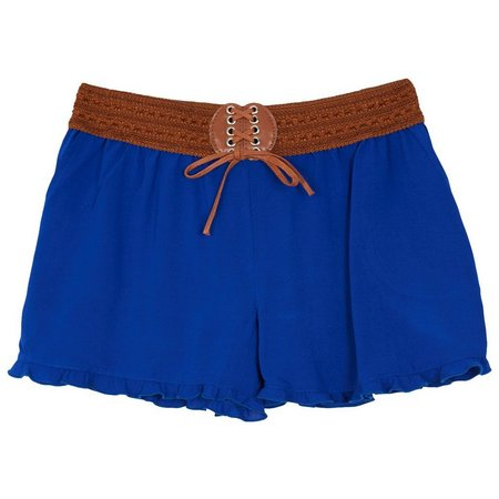 Amy Byer Big Girls Solid Ruffle Shorts