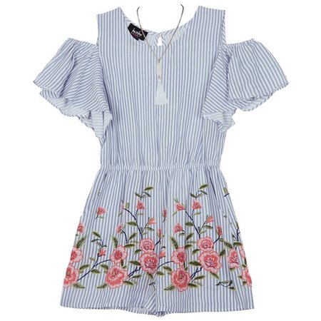 Amy Byer Big Girls Striped Floral Romper