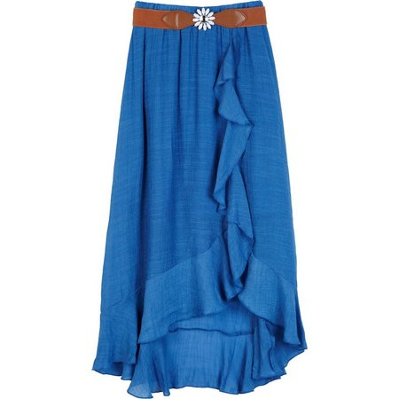 Amy Byer Big Girls High-Low Ruffle Gauze Skirt