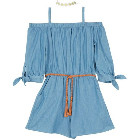 97701c802cc Amy Byer Big Girls Chambray Off Shoulder Romper
