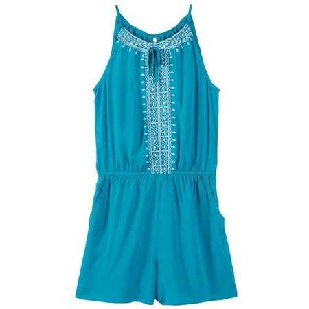 New! Amy Byer Big Girls Solid Embroidered Romper