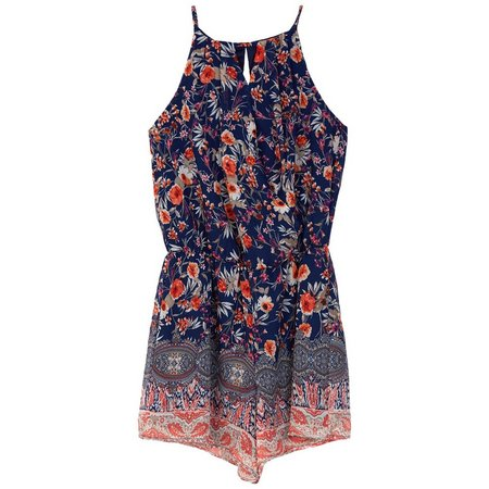 Amy Byer Big Girls Floral Paisley Romper