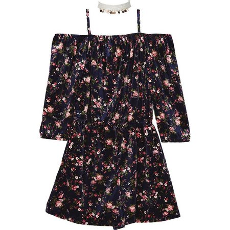 Amy Byer Big Girls Floral Velvet Romper