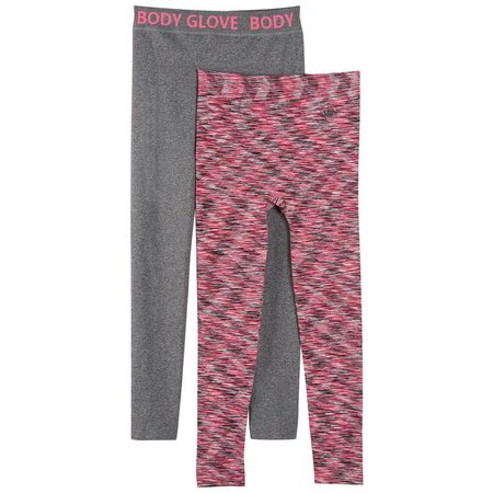 Body Glove Big Girls 2-pk. Heather Stripe Leggings