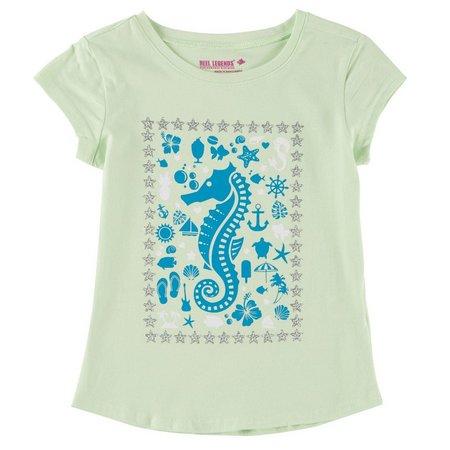 Reel Legends Little Girls Seahorse T-Shirt