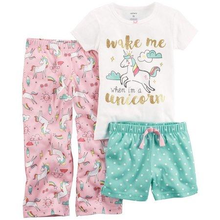Carters Toddler Girls 3-pc. Unicorn Pajama Set