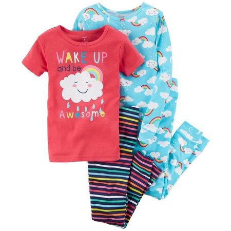 Carters Little Girls 4-pc. Wake Up Awesome Pajama