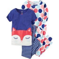 Carters Toddler Girls 4-pc. Kitty Pajama Set