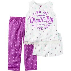 New! Carters Little Girls 3-pc. Dream Big Pajama