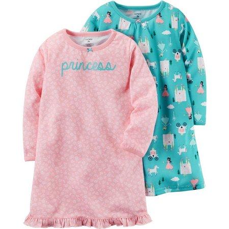 New! Carters Little Girls 2-pk. Princess Nightgowns