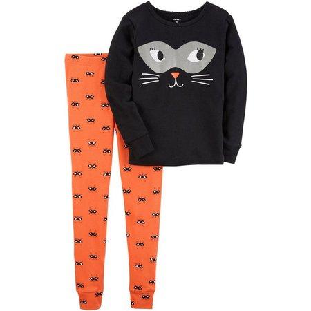 Carters Little Girls Cat Halloween Pajama Set