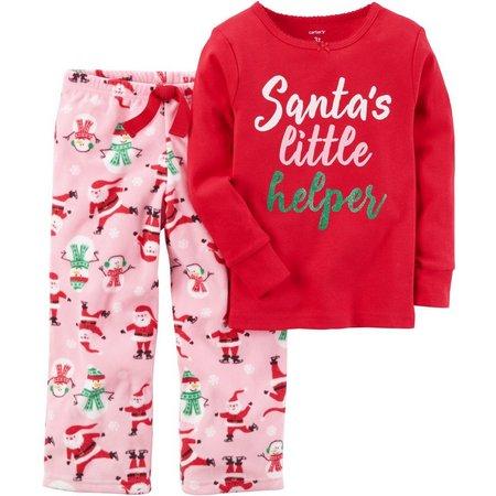 Carters Little Girls Santa's Helper Pajama Set