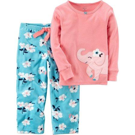 Carters Little Girls Floral Elephant Pajama Set