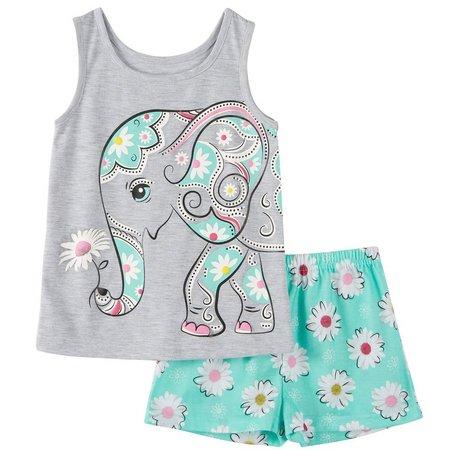 Komar Kids Little Girls Elephant 4D+ Pajama Set