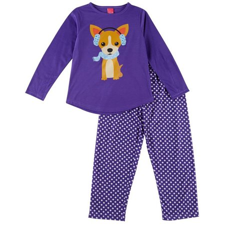 HPI Apparel Little Girls Polka Dot Dog Pajama