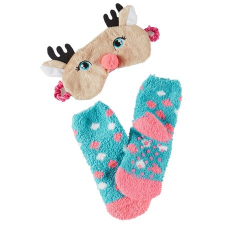Capelli Girls 2-pc. Reindeer Sleep Mask & Sock