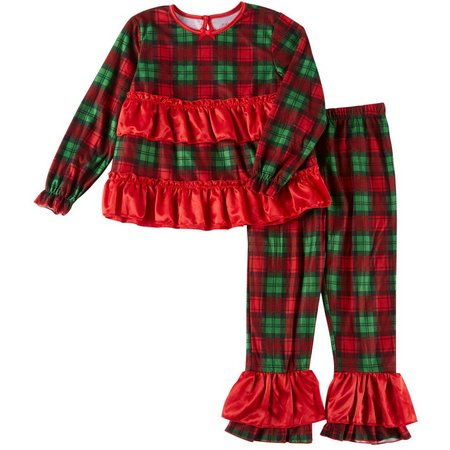 Candlesticks Little Girls Plaid Ruffle Pajama Set