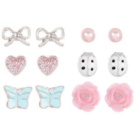 Capelli Girls 6-pc. Garden Party Stud Earring Set