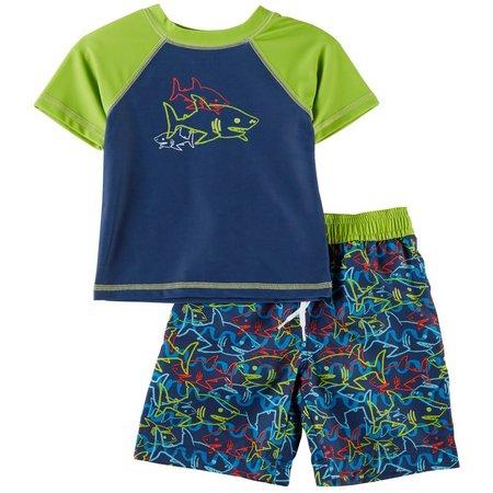 Floatimini Toddler Boys Shark Rashguard Swim Set