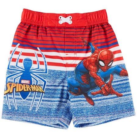 Marvel Spider-Man Toddler Boys Stripe Swim Trunks