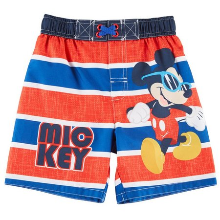 Disney Mickey Mouse Toddler Boys Stripe Swim Trunks