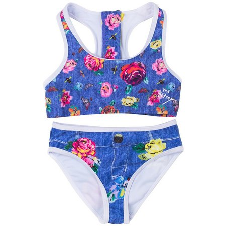 Betsey Johnson Toddler Girls Floral Denim Swimsuit