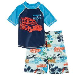 Charlie Rocket Toddler Boys Beach Cruiser Swim Set