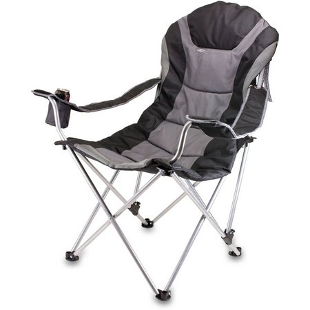 Picnic Time Black Reclining Camping Chair