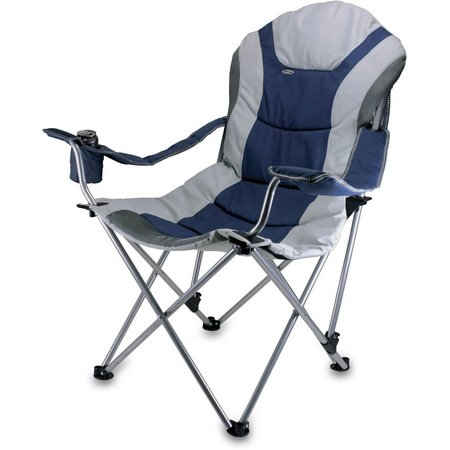 Picnic Time Navy Reclining Camping Chair