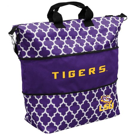 LSU Quatrefoil Expandable Tote by Logo Brands