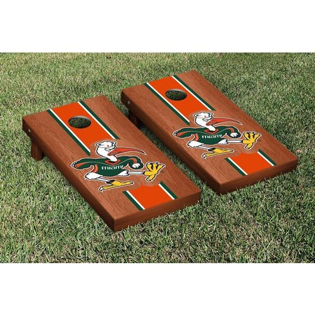Miami Hurricanes Mascot Stained Cornhole Game Set