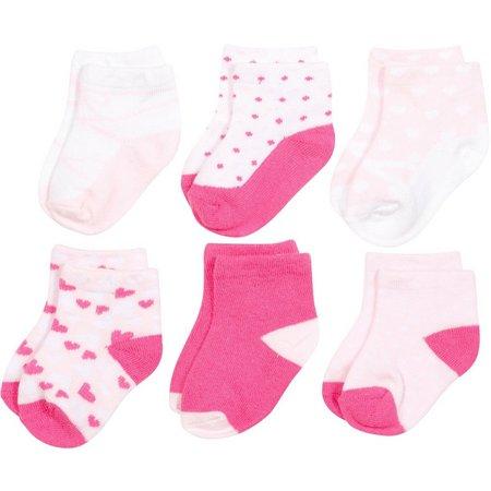 Baby Essentials Girls 6-pk. Heart Sock Set