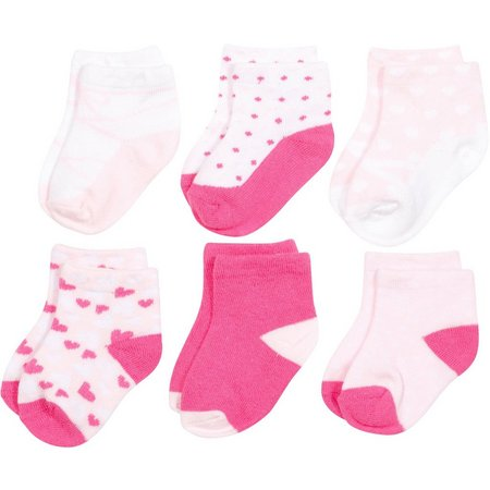 Baby Essentials Girls 6-pk. Heart Sock Set