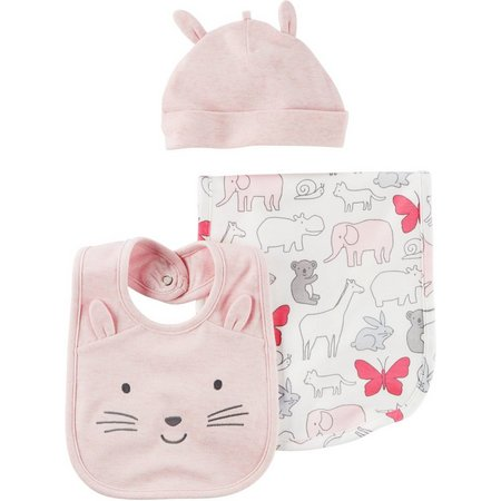 Carters Baby Girls 3-pc. Baby Pink Burp Cloth