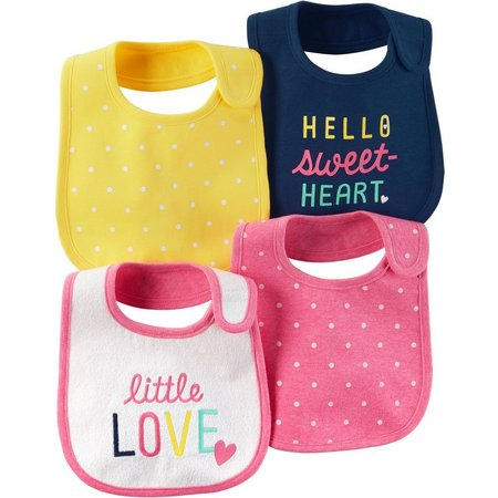 Carters Baby Girls 4-pk. Little Sweet Heart Bibs