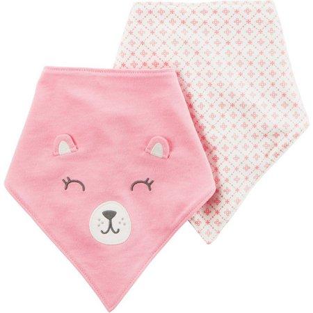 Carters Baby Girls 2-pk. Bear Bandana Bibs