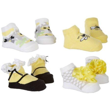 Baby Essentials Baby Girls 4-pk. Bumble Bee Socks