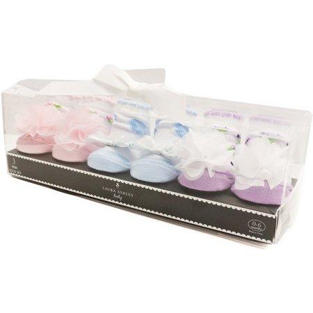 Laura Ashley Baby Girls 3-pk. Flowers Socks Set