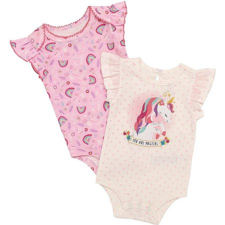 Baby Starters Baby Girls 2-pk. Unicorn Bodysuits