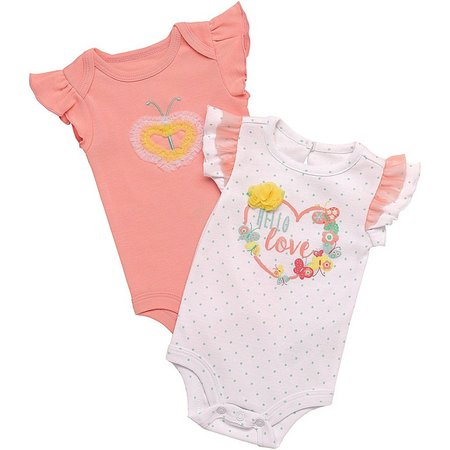 Baby Starters Baby Girls 2-pk. Hello Bodysuits