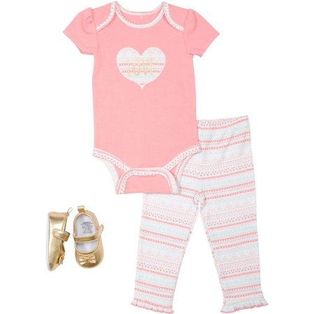New! Baby Gear Baby Girls 3-pc. Love Layette
