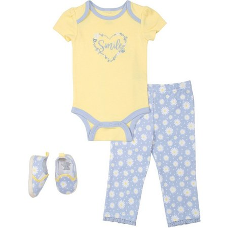 Baby Gear Baby Girls 3-pc. Daisy Layette Set