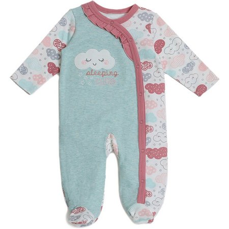 Chick Pea Baby Girls Sleeping Footed Coverall