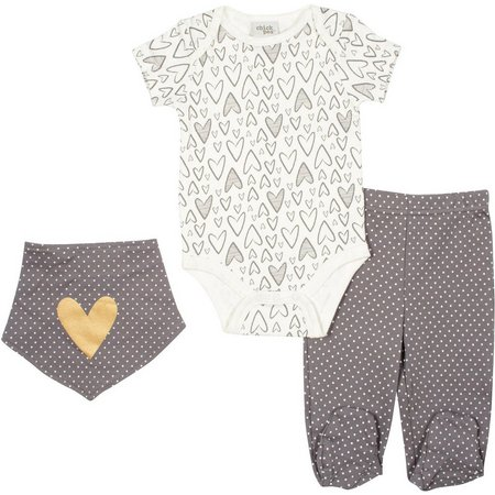 Chick Pea Baby Girls 3-pc. Hearts Layette Set