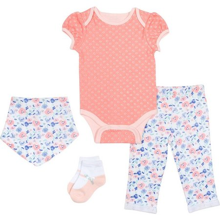 Baby Gear Baby Girls 4-pc. Floral Layette Set