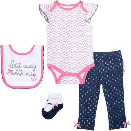 New! Baby Gear Baby Girls 4-pc. Sail Layette