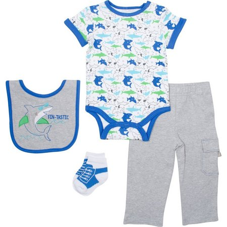 Baby Gear Baby Boys 4-pc. Shark Layette Set