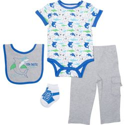 New! Baby Gear Baby Boys 4-pc. Shark Layette