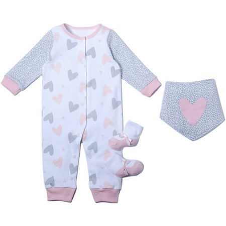 Chick Pea Baby Girls 3-pc. Heart Print Layette