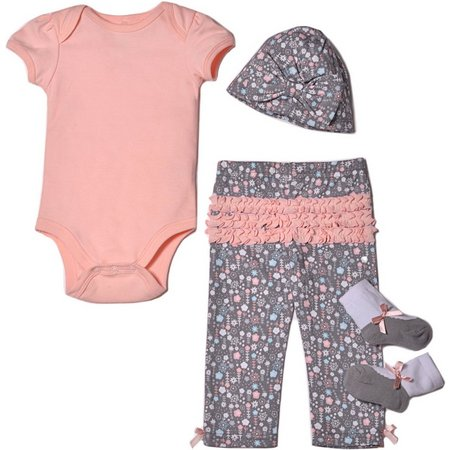 Baby Gear Baby Girls 4-pc. Floral Ruffle Layette